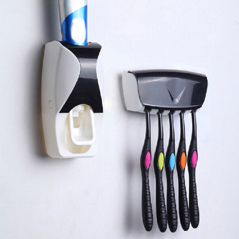 Automatic  Toothpaste Dispenser Plastic  Squeezer & 5 Toothbrush Holder