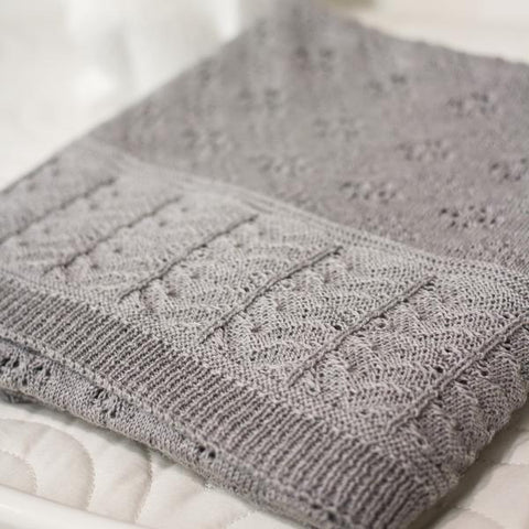 Heirloom Baby Vintage Inspired Merino Baby Shawl - Soft Grey
