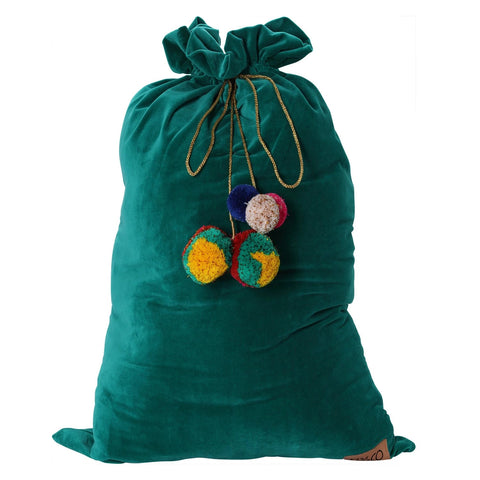 KIP & CO VELVET SANTA SACK- JADE GREEN GLOBAL BABY