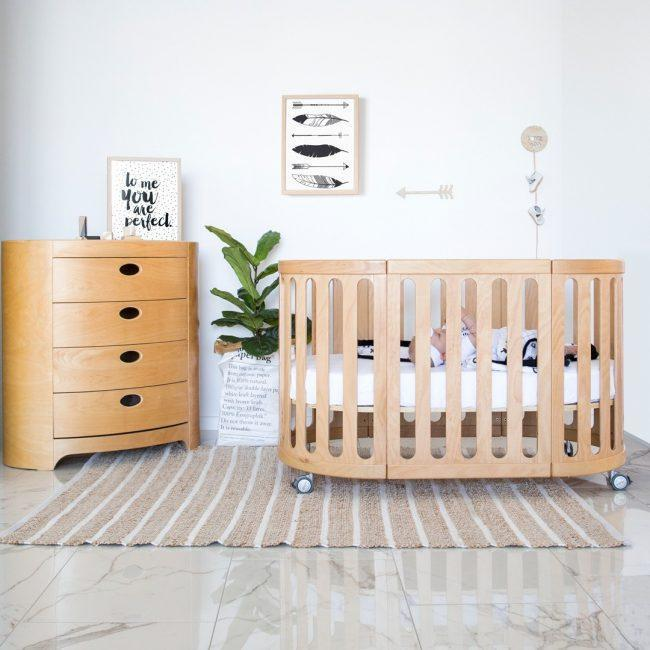 Babyhood Kaylula Sova 4 in 1 Cot Classic - Beech (Includes Mattress)