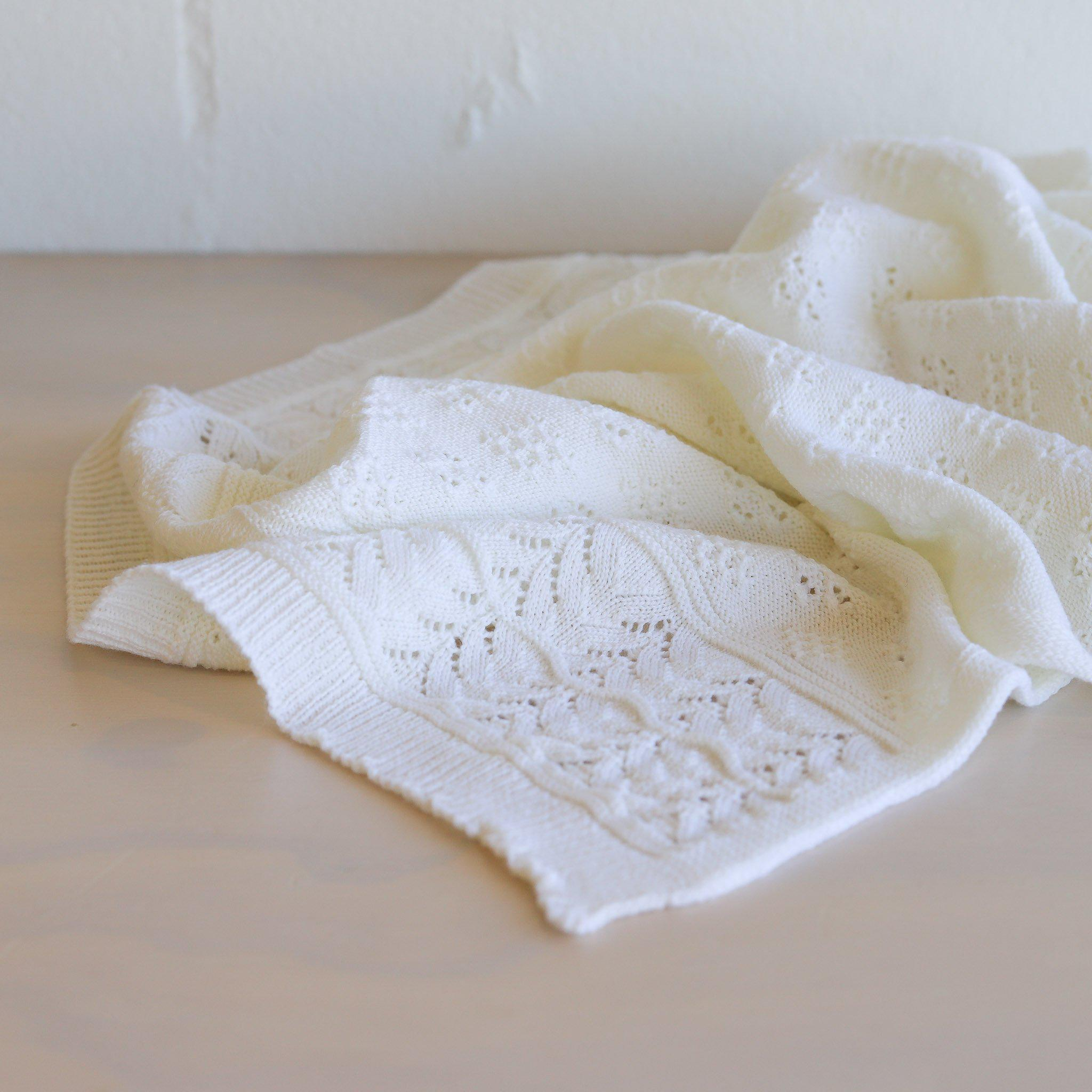 Heirloom Baby Vintage Inspired Merino Baby Shawl - Bianco