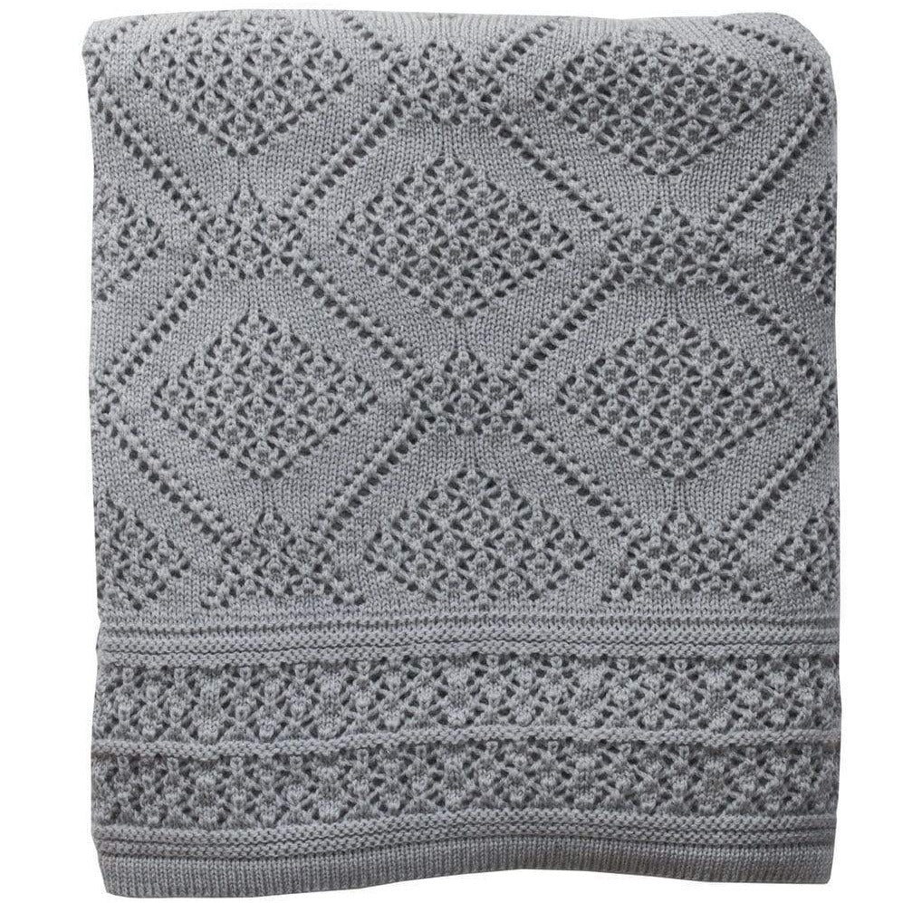 Heirloom Merino Baby Blanket Geometric Pattern - Mid Grey