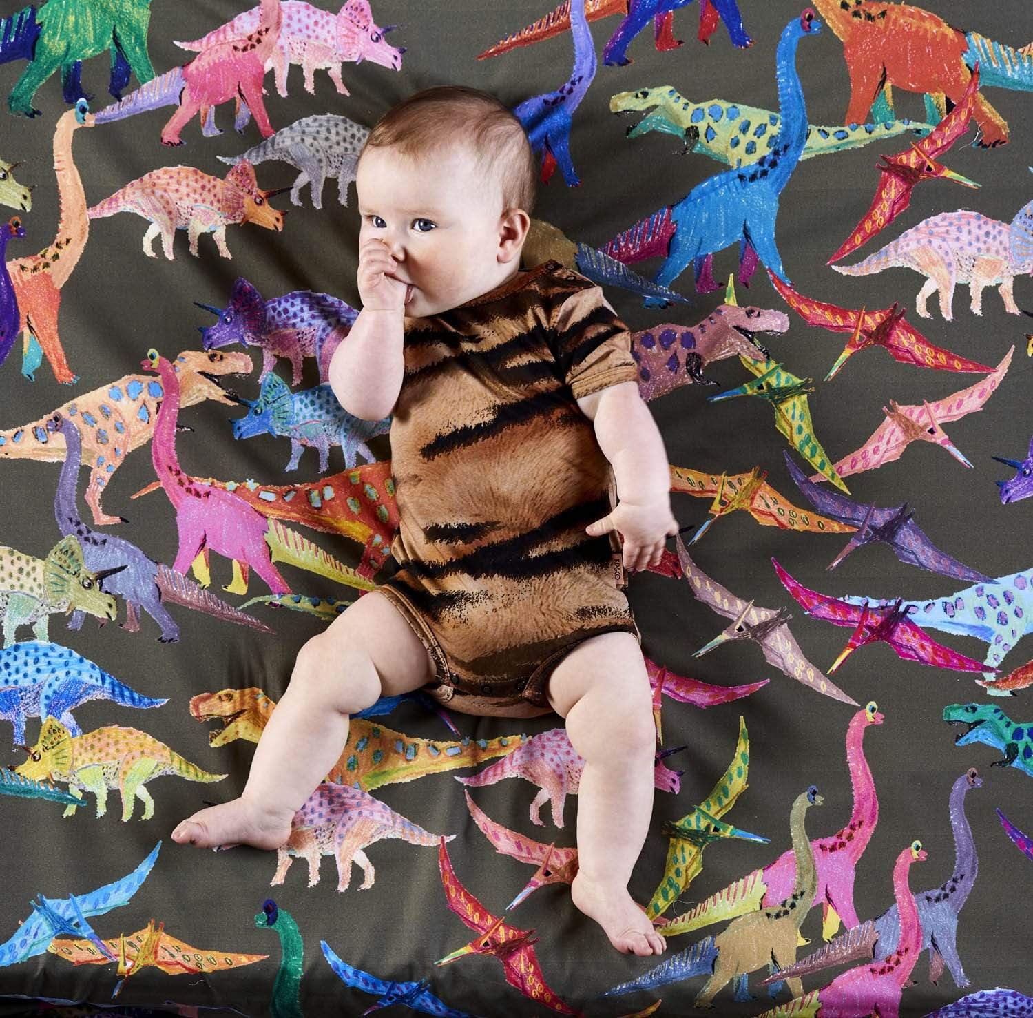 Kip&Co Cot Cotton Fitted Sheet - Dino Earth