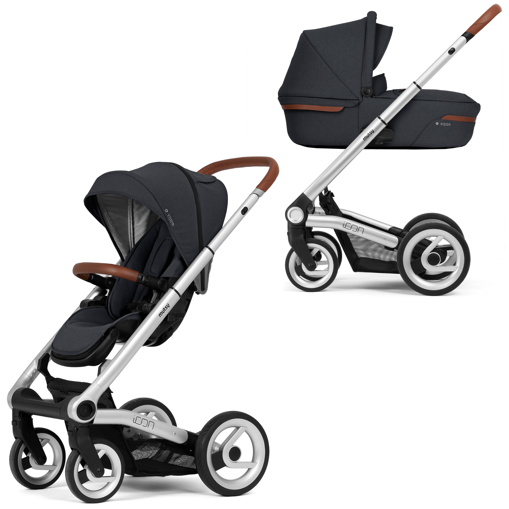 Mutsy Icon Stroller with Carrycot - Silver Frame