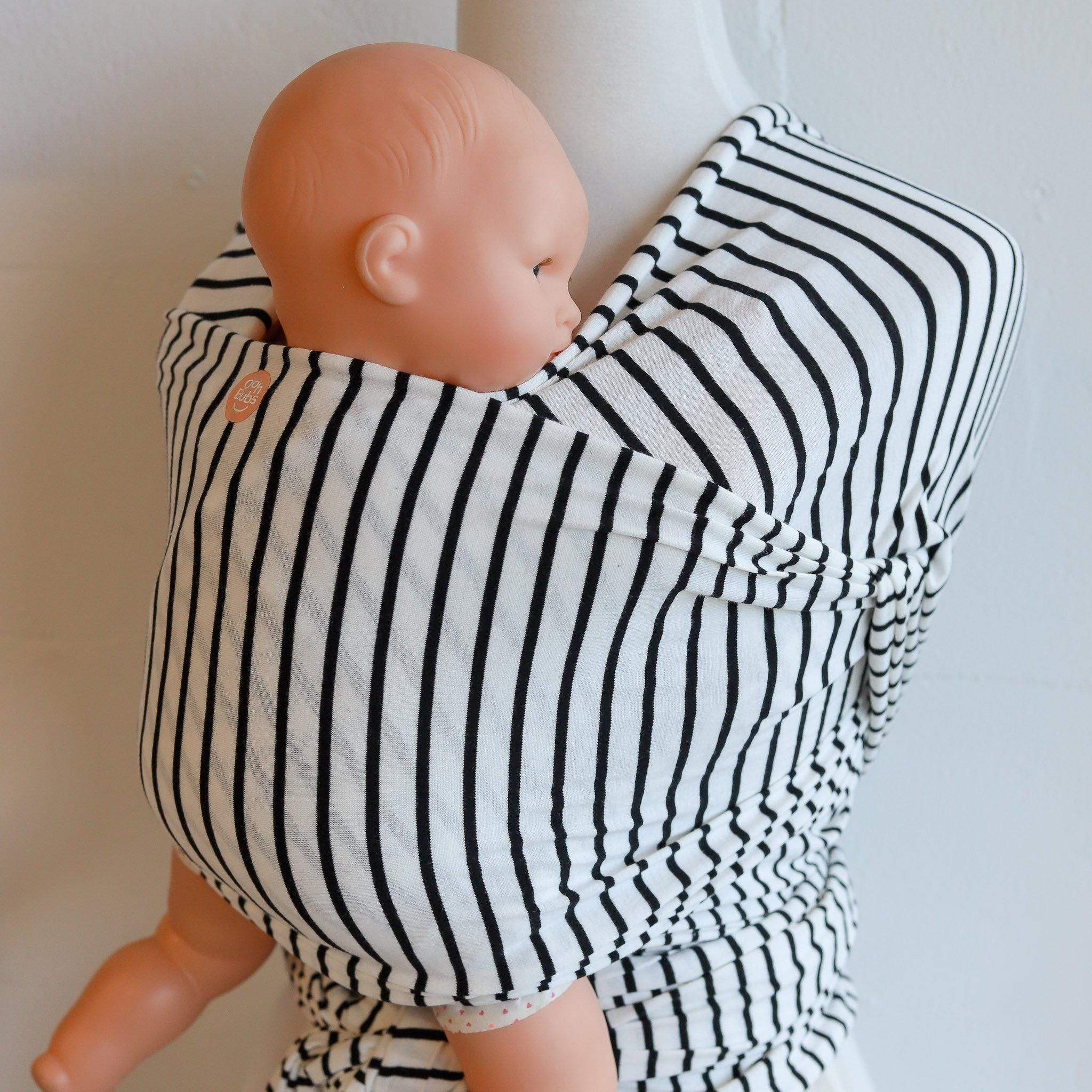 Oohbubs Baby Wrap- Black and White Stripe-Baby Wearing-Global Baby