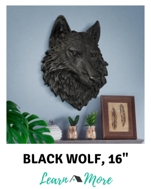 Large Black Wolf Wall Decor