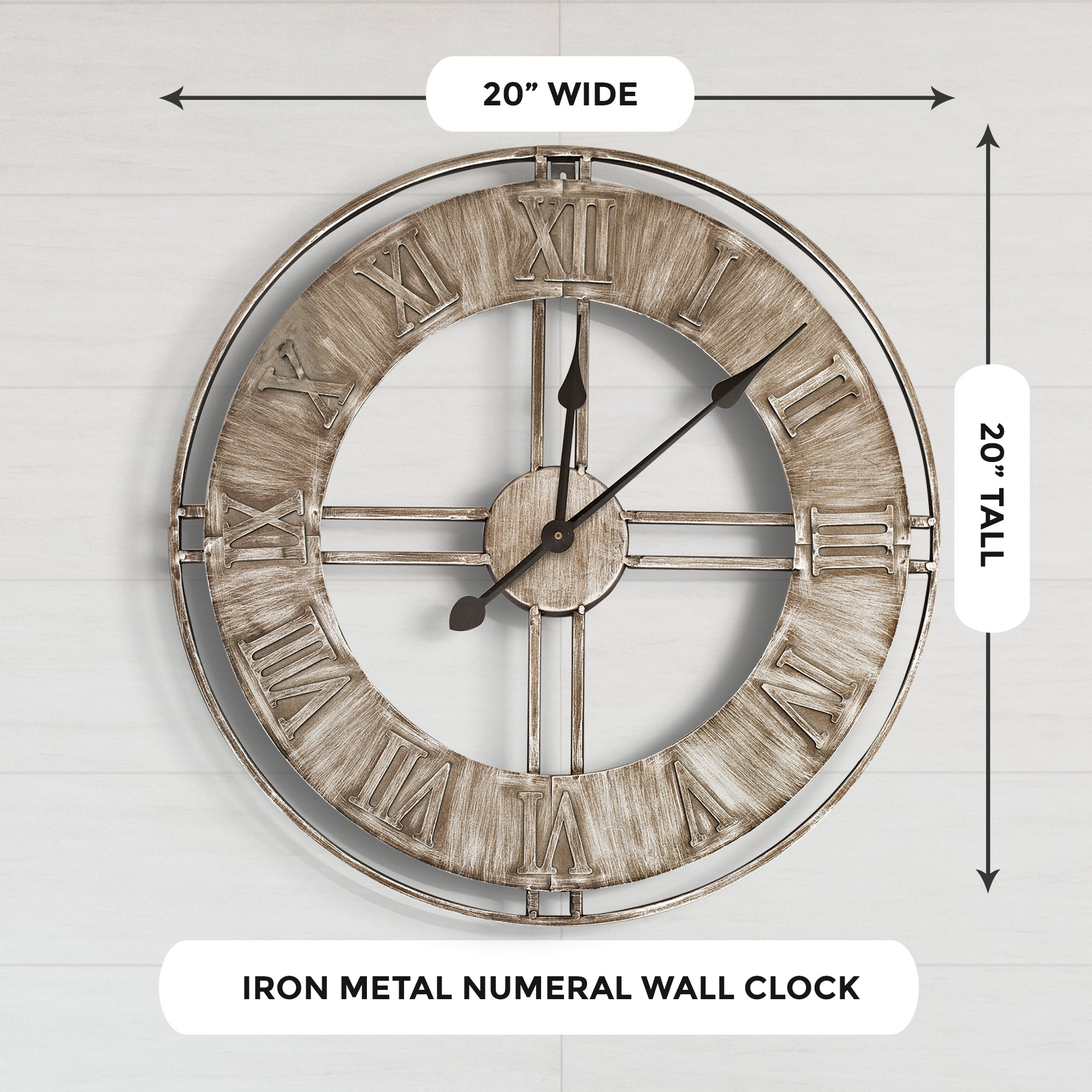 Rustic Metal Industrial Wall Clock, 20""