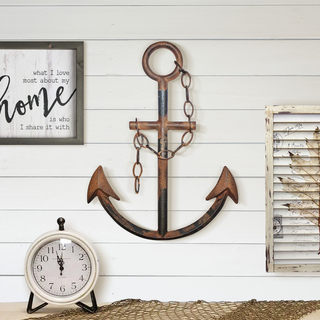 Rustic Navy Anchor Wall Decor, 16""