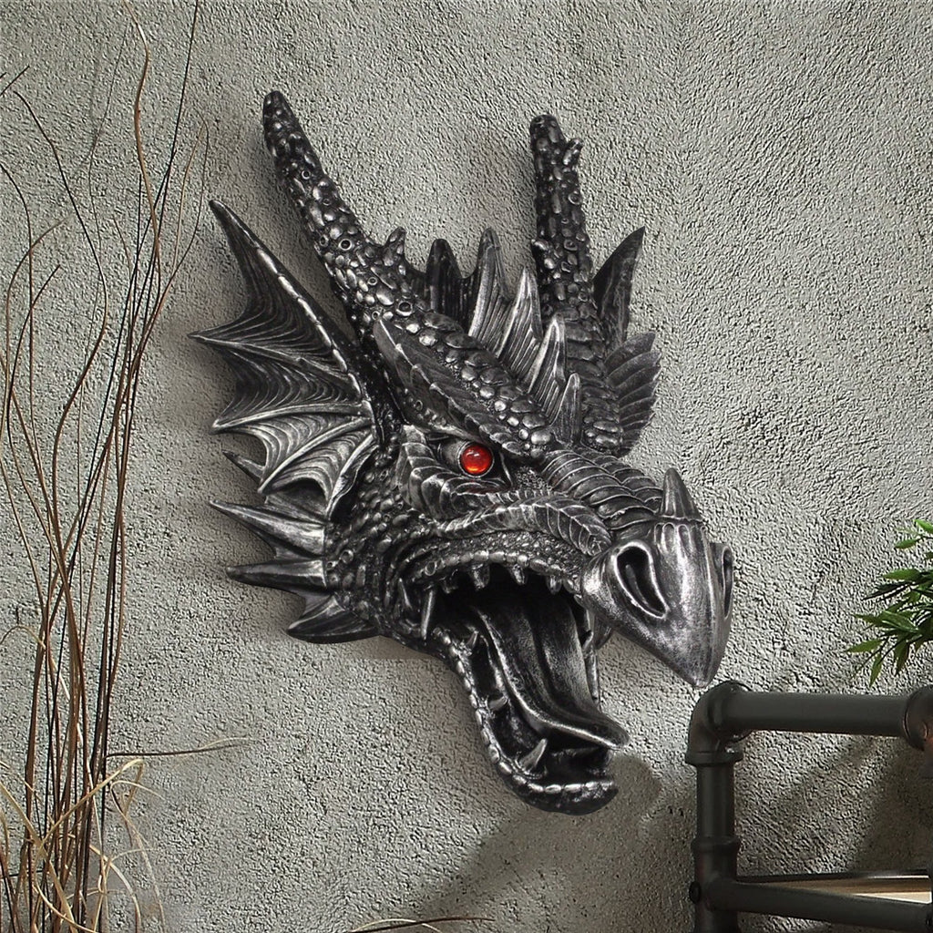 Faux taxidermy dragon head, faux dragon, faux taxidermy, animal head wall mount, farmhouse decor