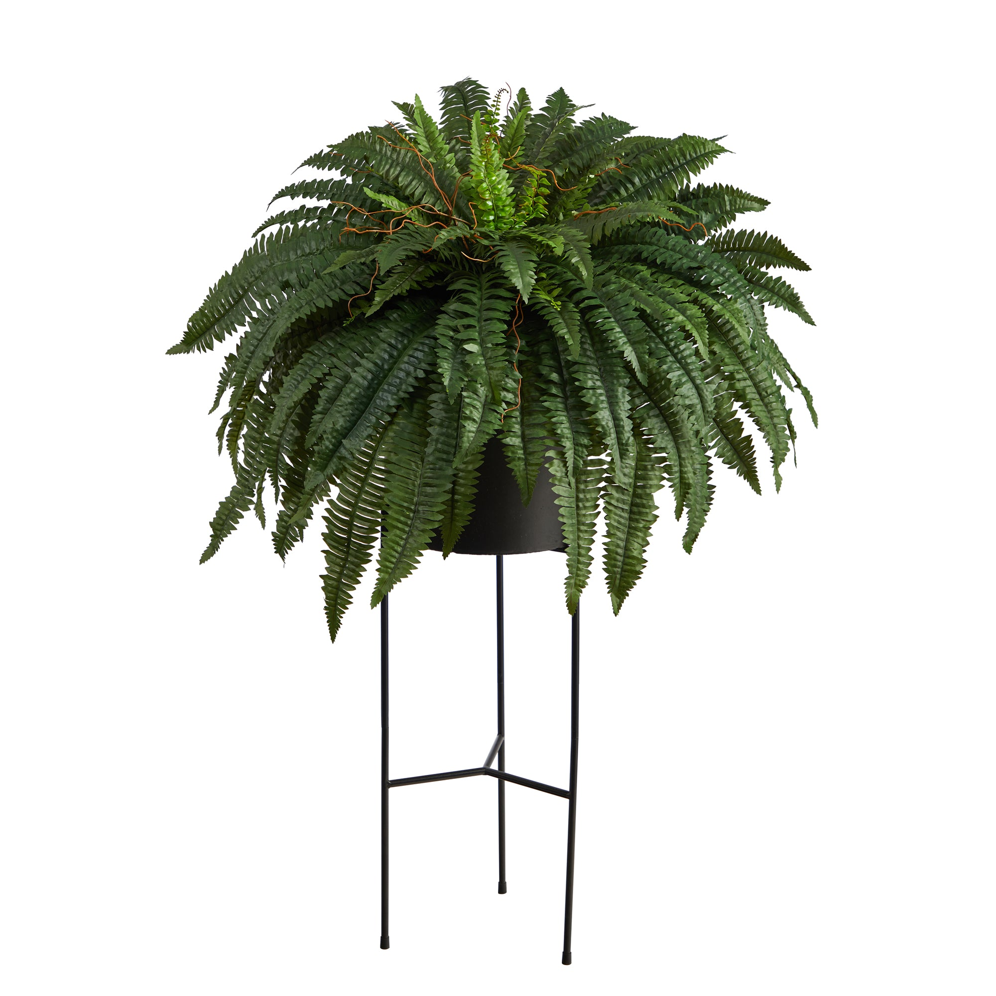 Boston Fern Artificial Plant in Black Planter with Stand, 51""