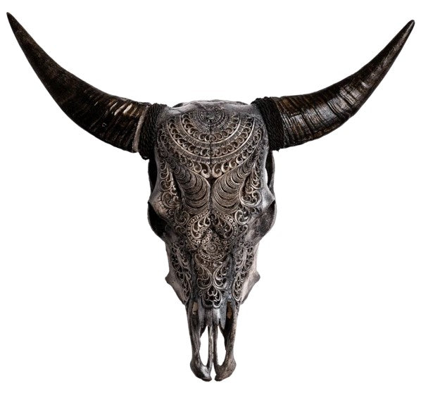 The Real Grey Boho Carved Cow Skull