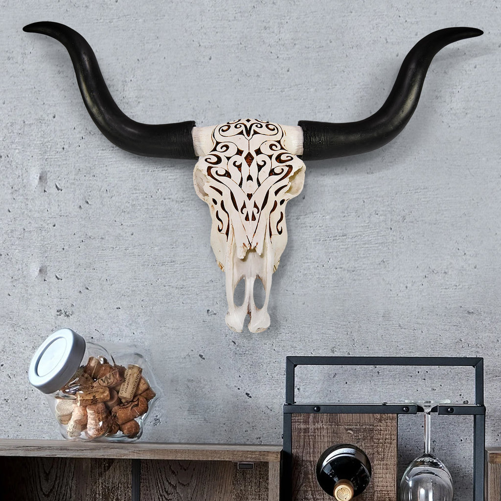 Carved Longhorn Skull, 27.5""