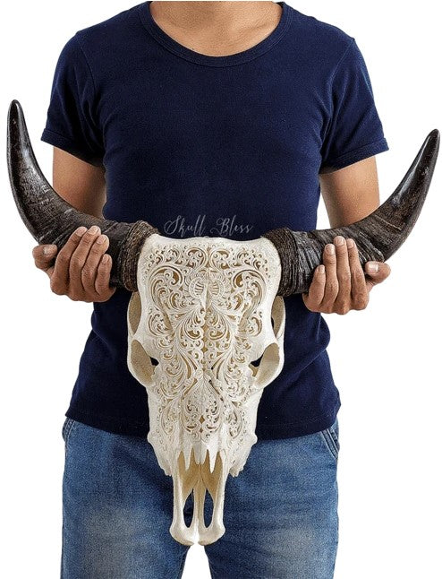 Real Flower Carved Cow Skull, 22.5""