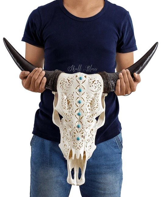 Real Turquoise Blooming Carved Cow Skull, 22.5""