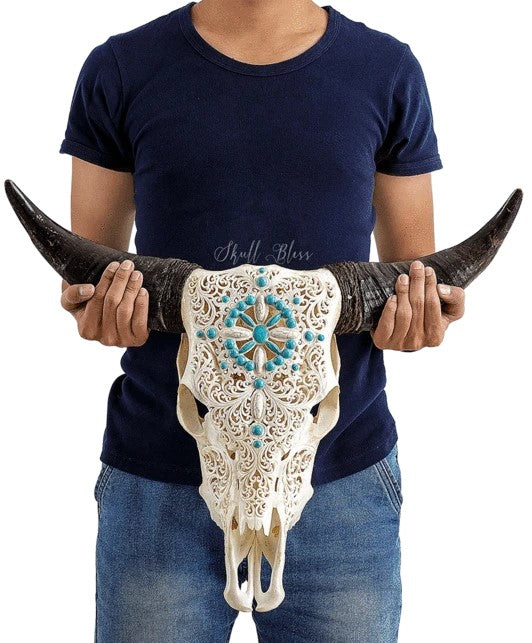 Real Turquoise Compass Carved Cow Skull, 22.5""