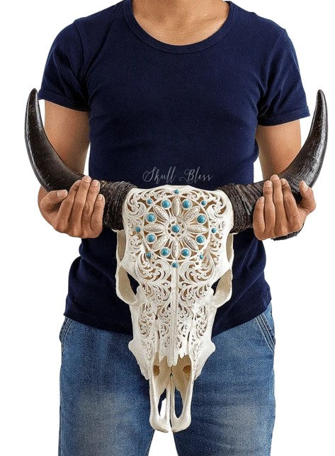 Real Turquoise Dreaming Carved Cow Skull, 22.5""