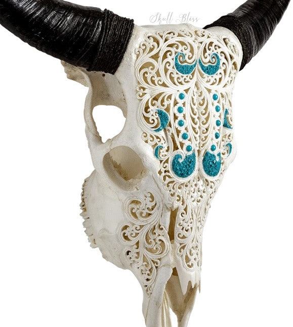 Real Wavy Water Carved Cow Skull, 22.5""