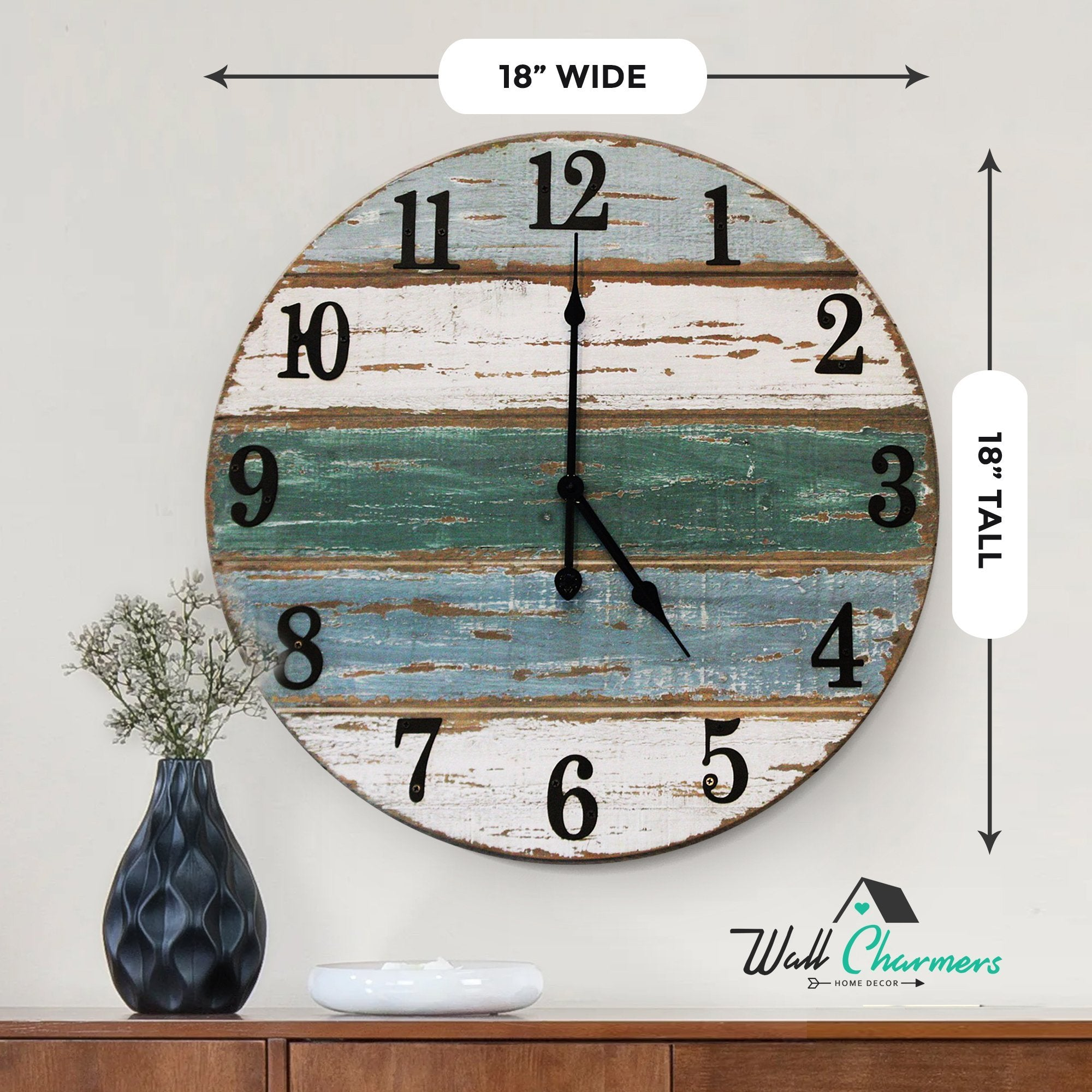 18 inch beach wall clock size callout