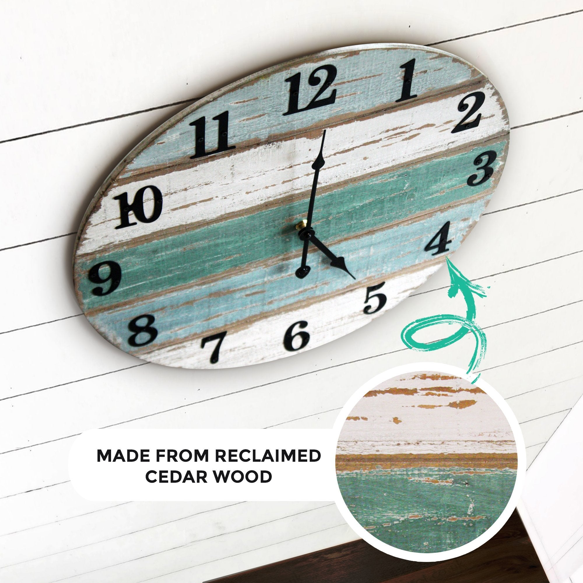 18 inch beach wall clock partial side