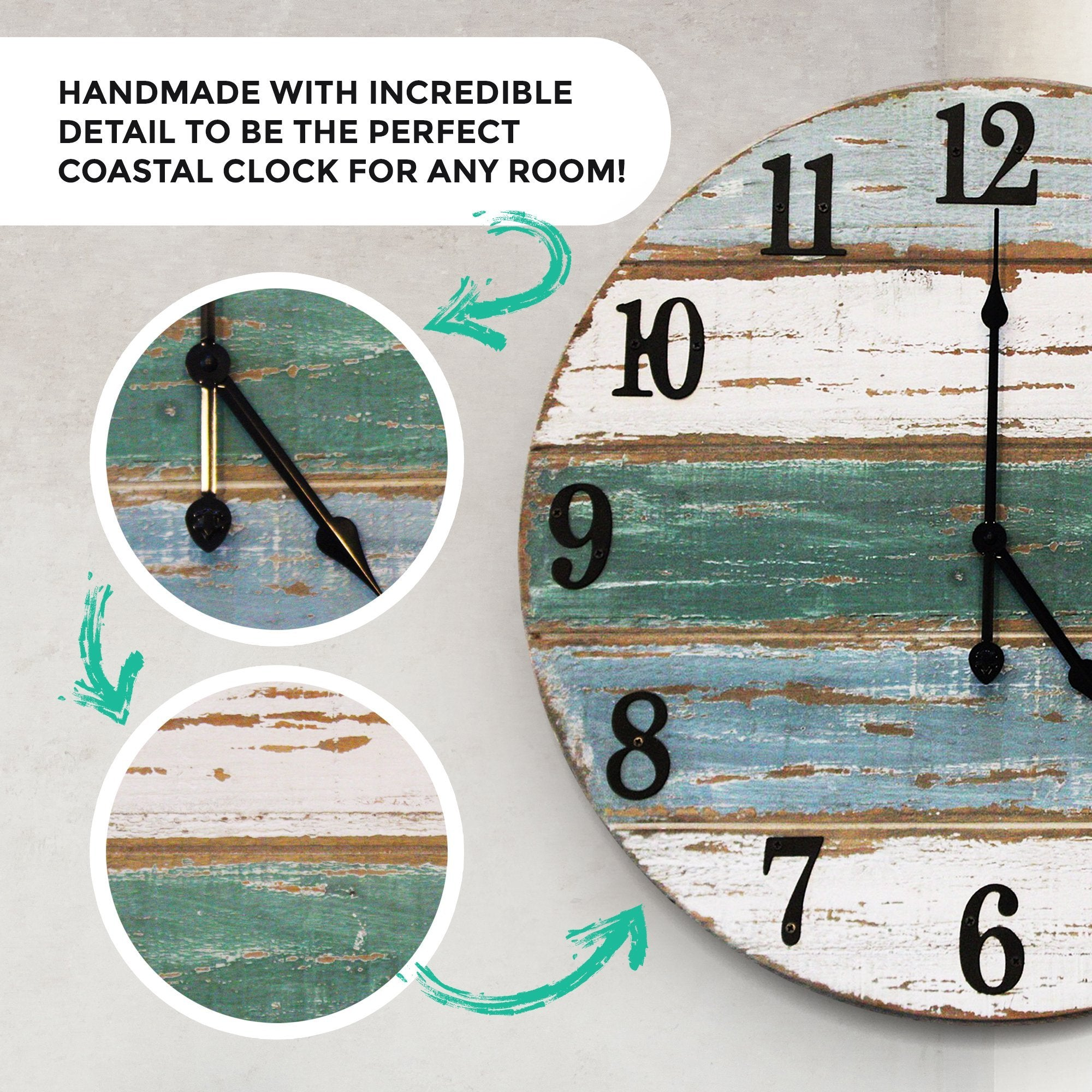 18 inch beach wall clock detail callout