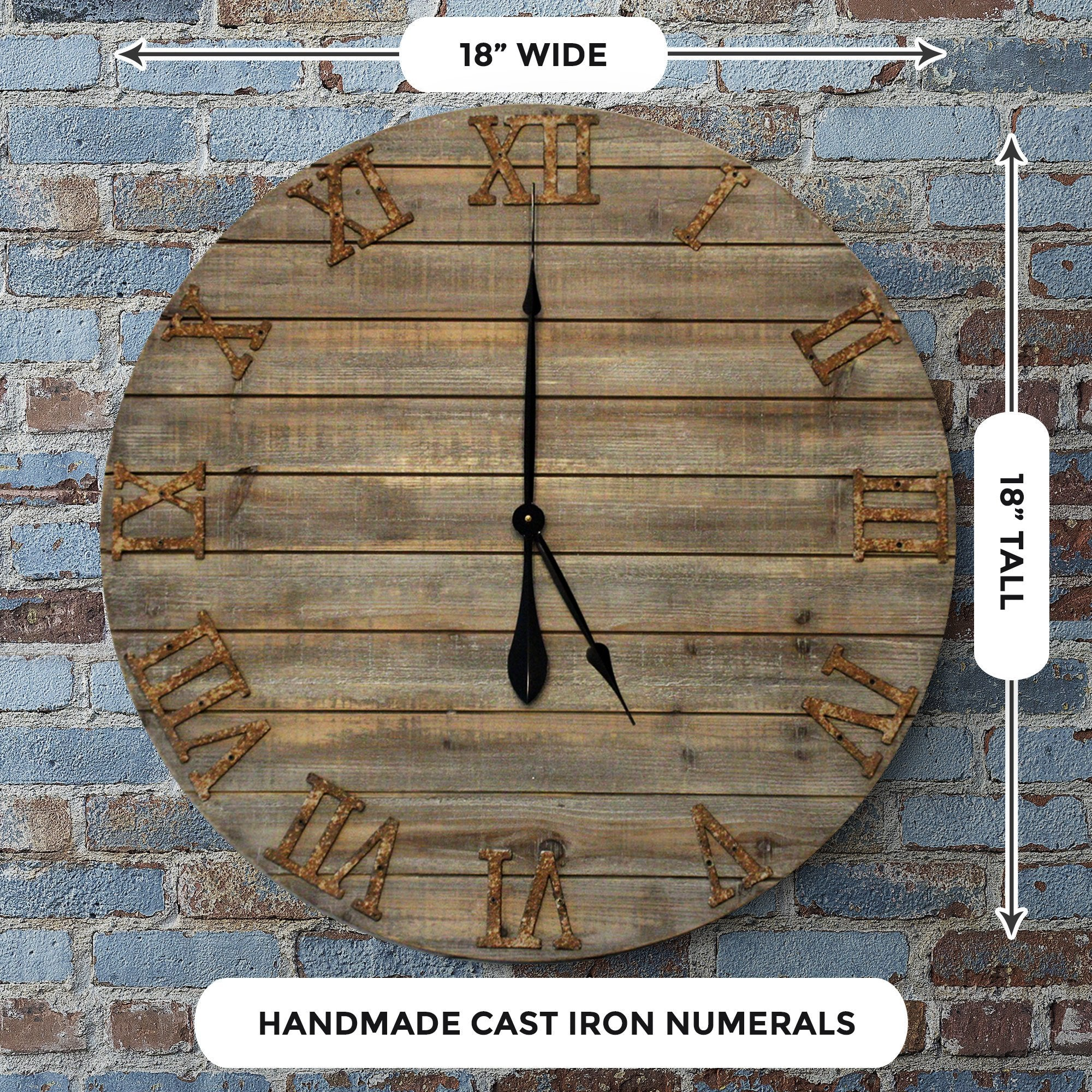 Wood Farmhouse Clock 30 inches size detail