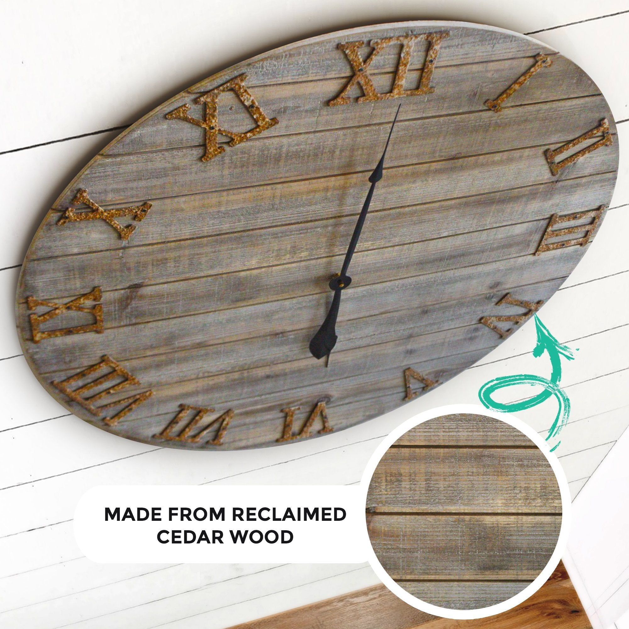 Wood Farmhouse Clock 30 inches partial side detail view