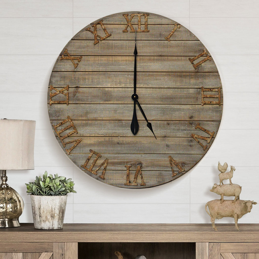 Wood Farmhouse Clock 30 inches