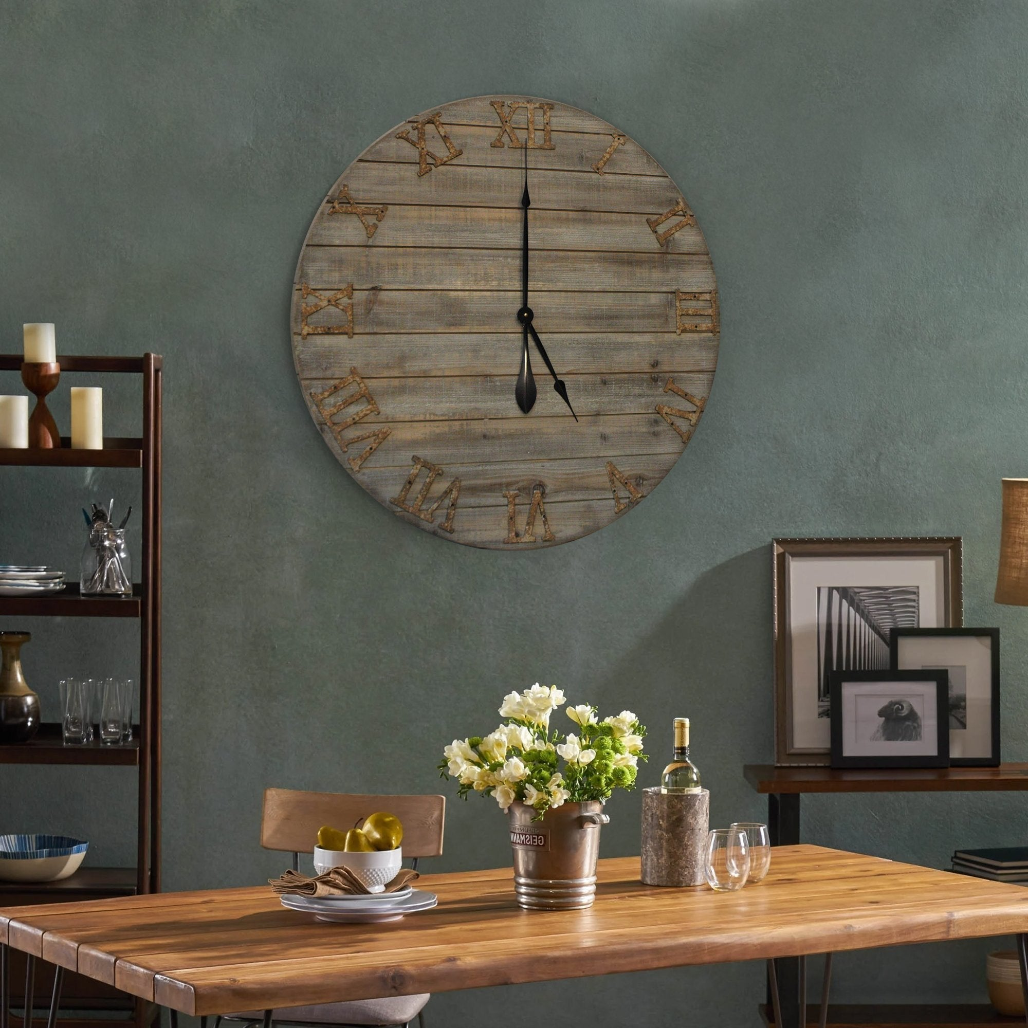 Wood Farmhouse Clock 30 inches lifestyle