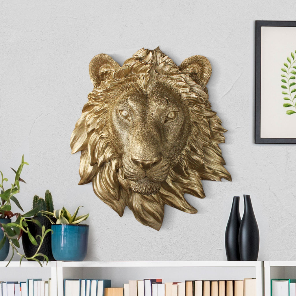 Faux lion, faux mini lion, fake mini lion, animal head wall mount, farmhouse decor, gold lion