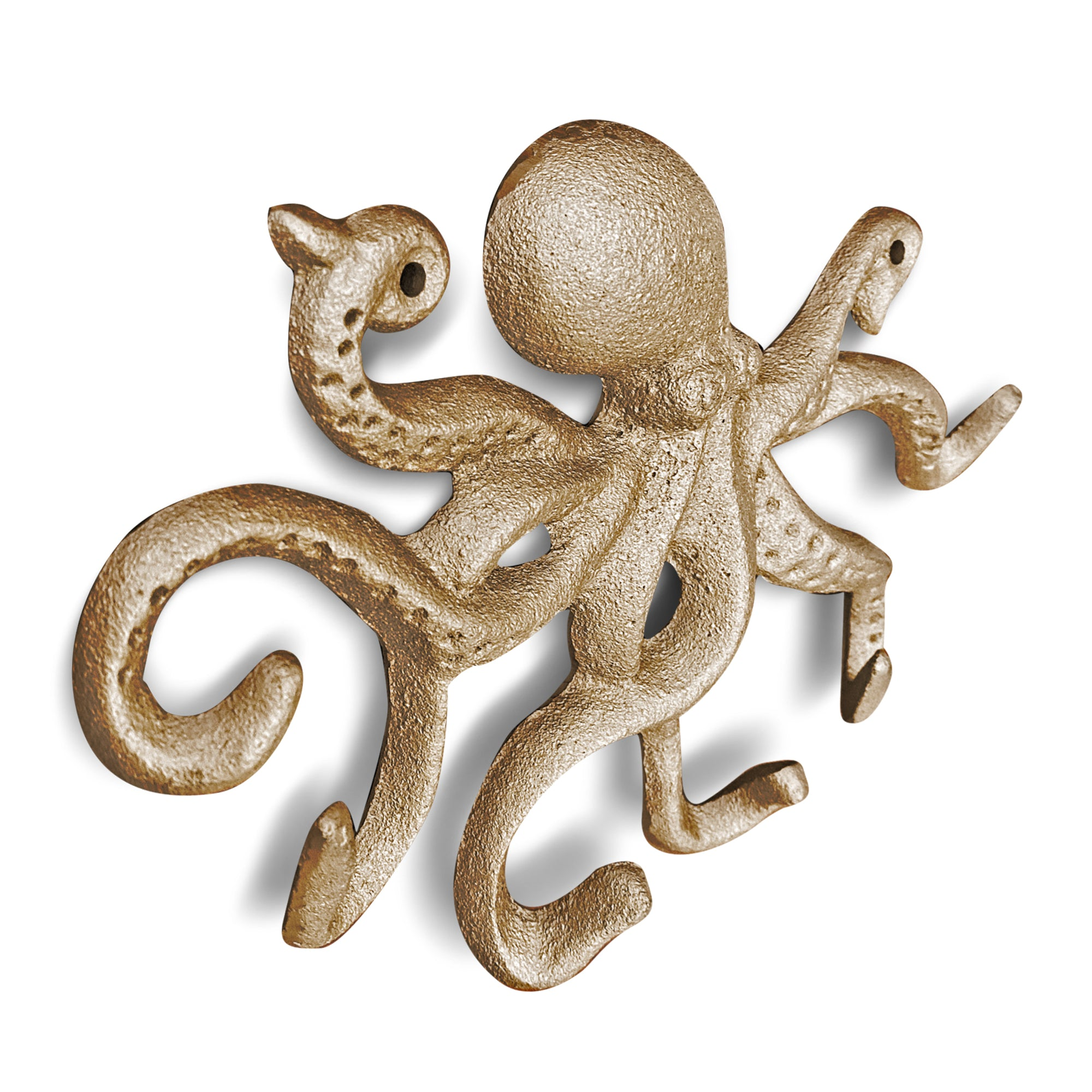 Gold Cast Iron Octopus Wall Hook, 10.5""