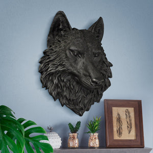 Faux taxidermy wolf, faux wolf, faux taxidermy, animal head wall mount, farmhouse decor
