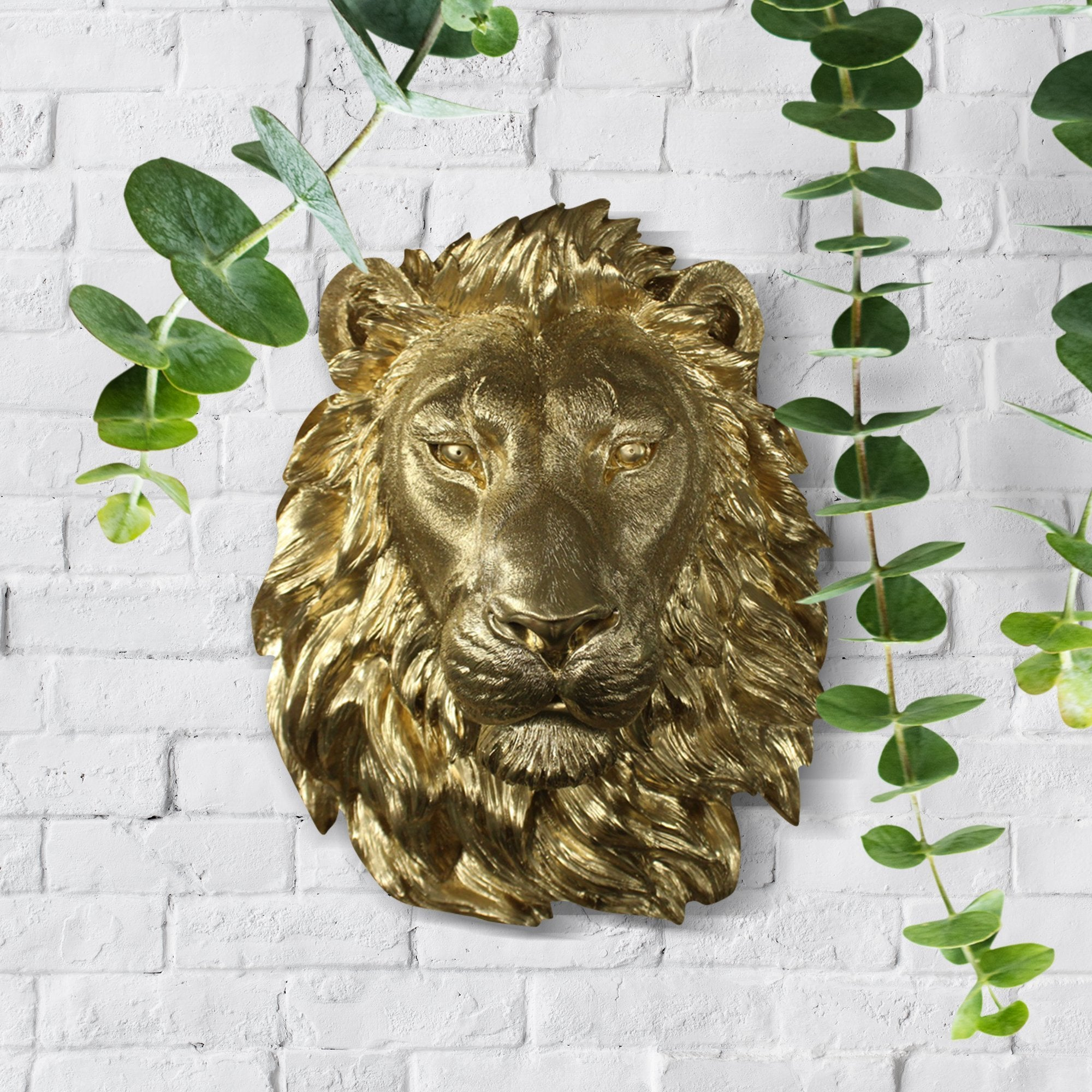 Faux lion, faux lion, fake large lion head, animal head wall mount, farmhouse decor