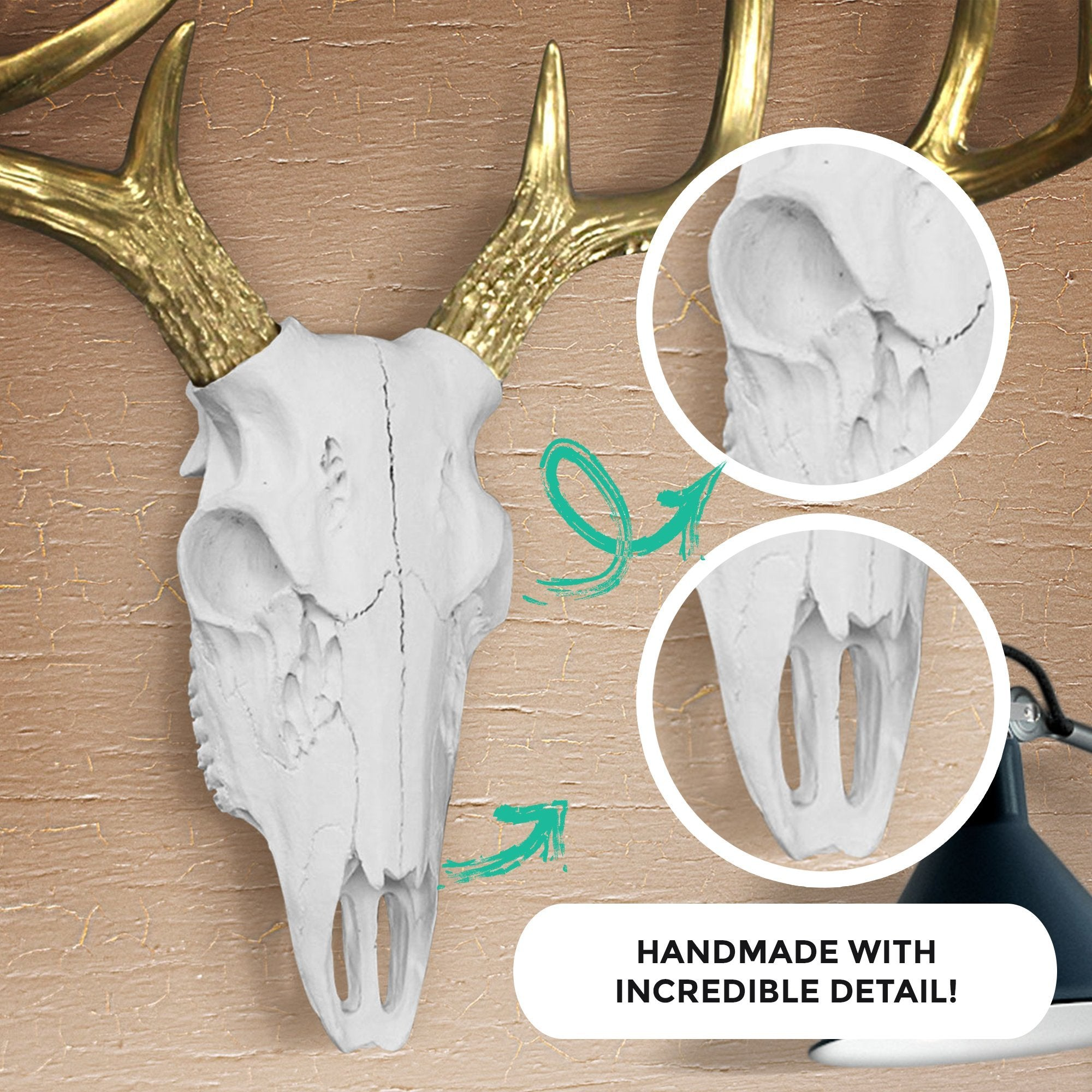 White + Gold Deer Skull, 21""