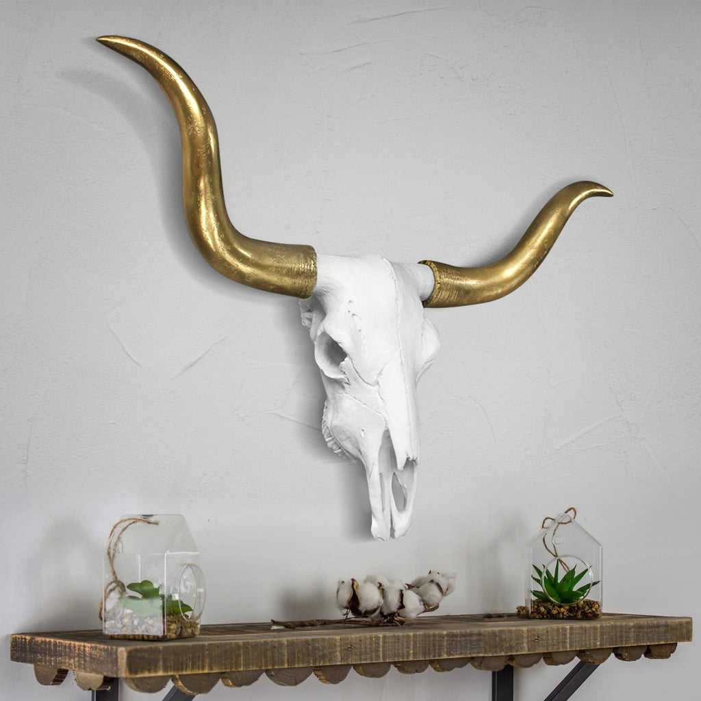Faux taxidermy longhorn skull, faux longhorn, faux taxidermy, animal skull wall mount, farmhouse decor