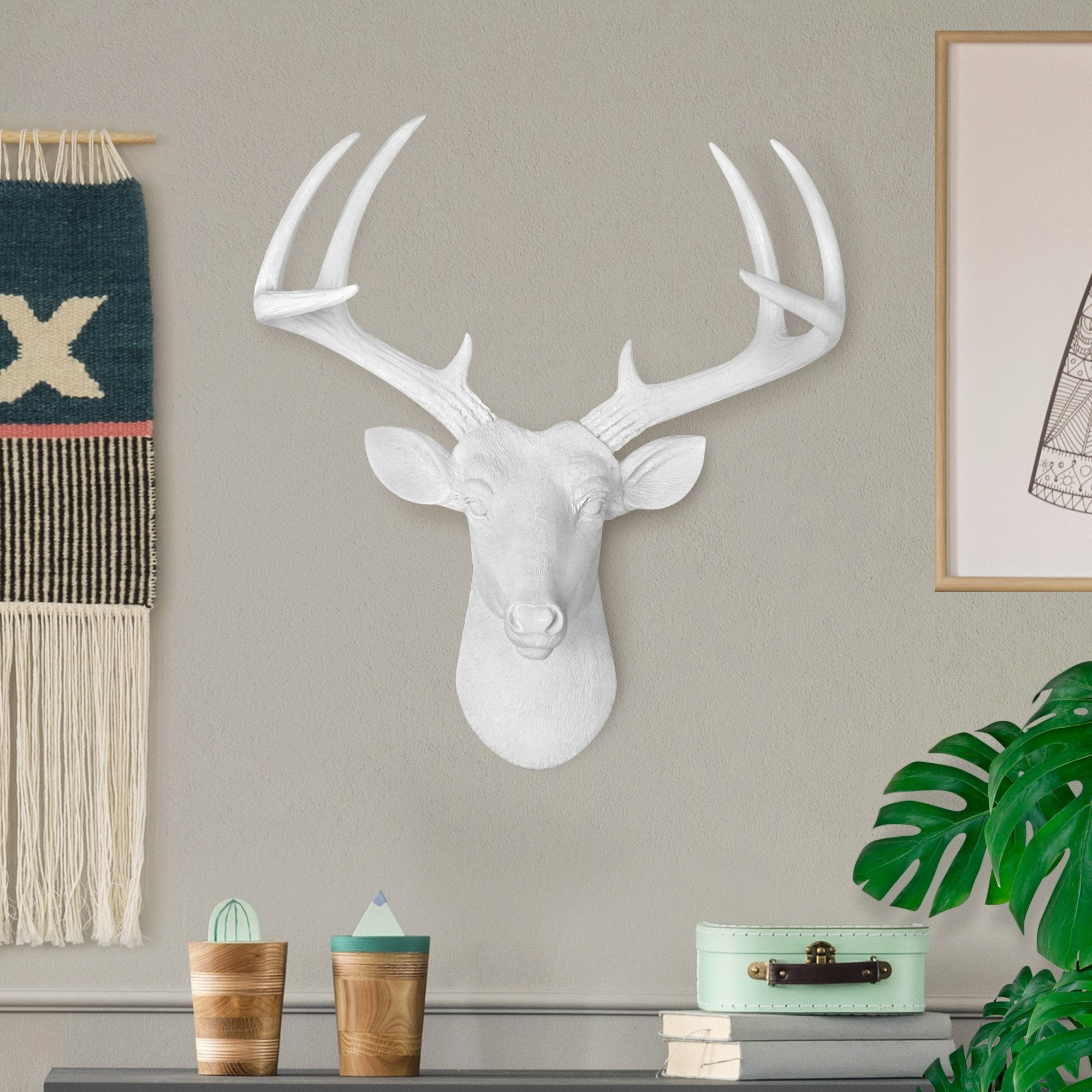 Faux deer, faux deer head, fake deer head, animal head wall mount, farmhouse decor