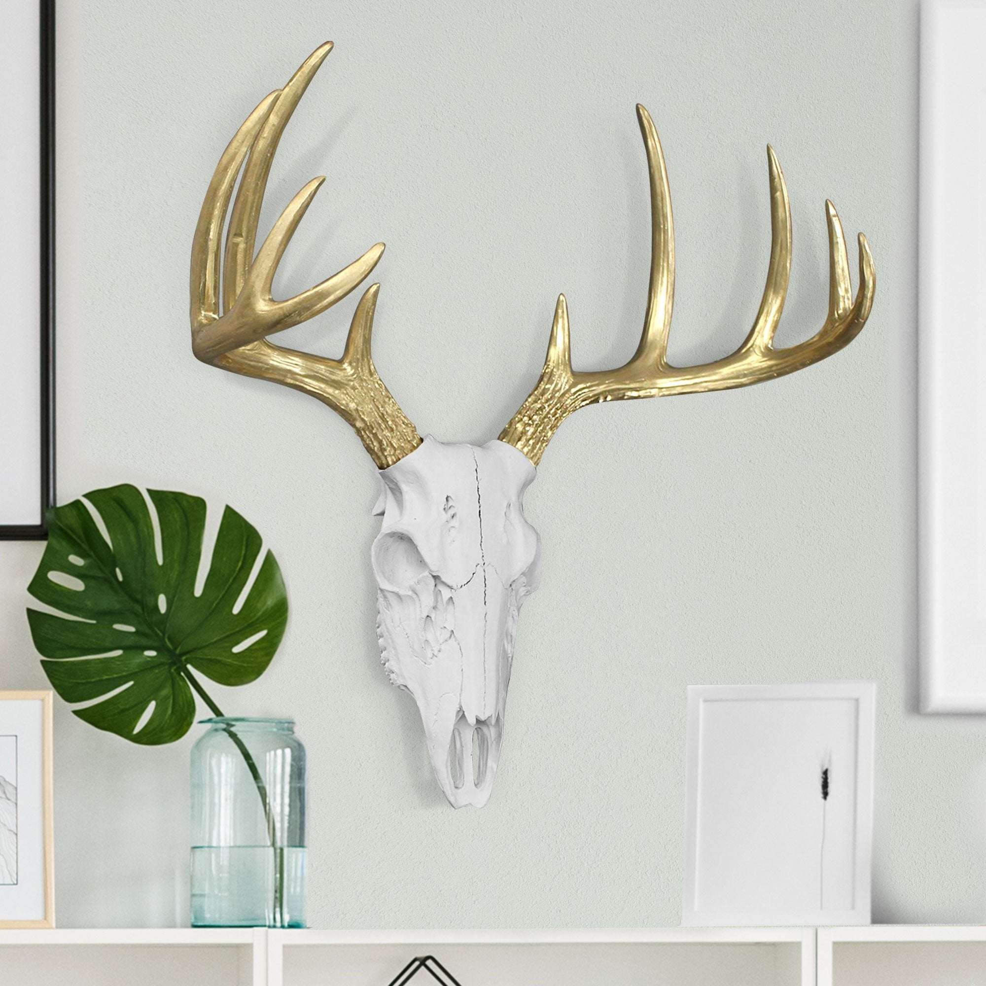 faux deer skull, faux deer, white and gold faux deer skull, mini deer skull, fake deer skull
