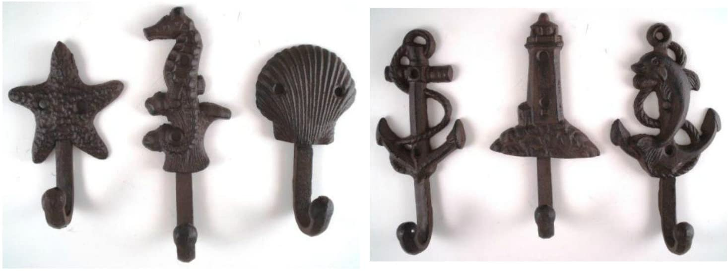 Set of 6 Nautical Cast Iron Wall Hooks