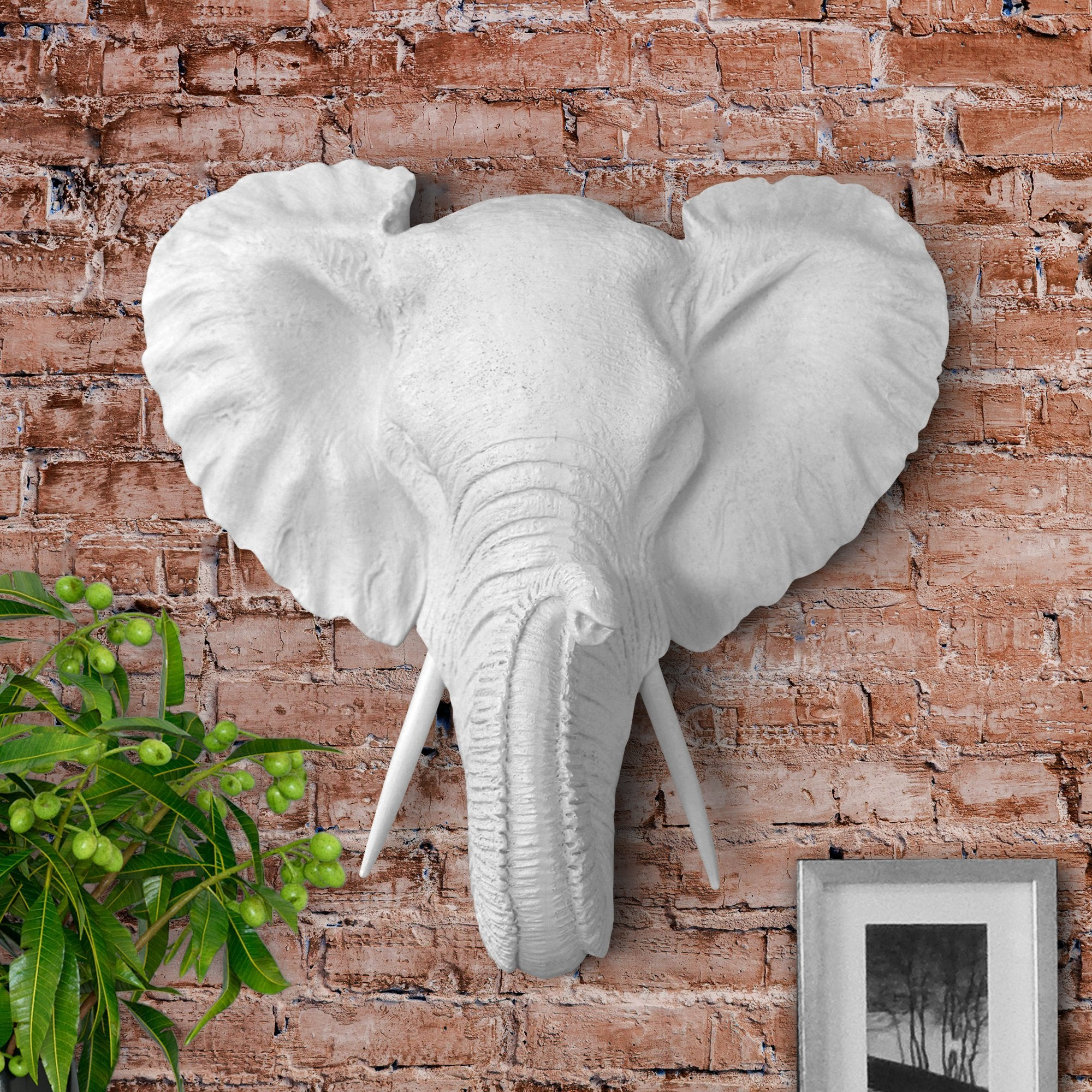 elephant, faux elephant, fake elephant, animal head wall mount, farmhouse decor