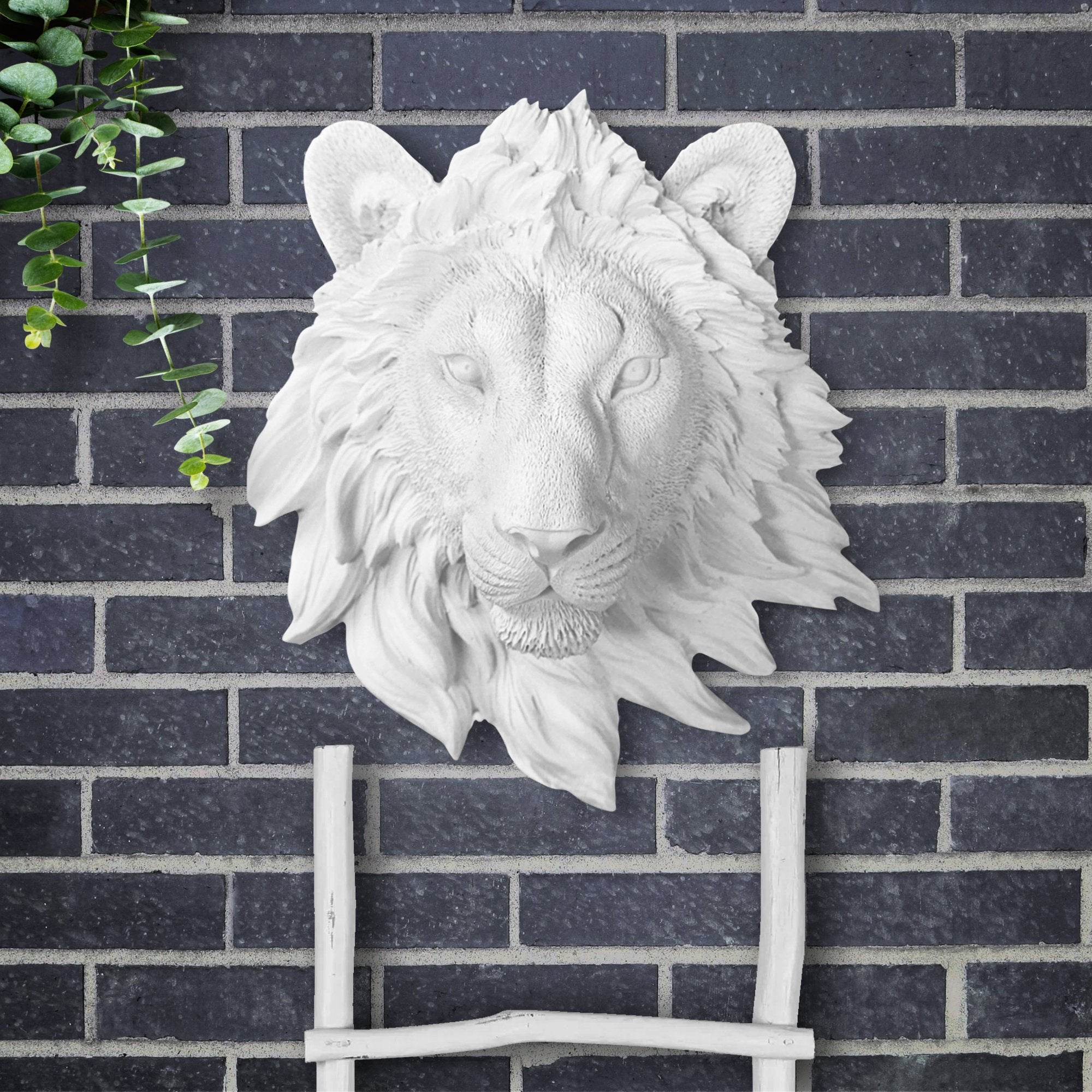 Faux lion, faux mini lion, fake mini lion, animal head wall mount, farmhouse decor