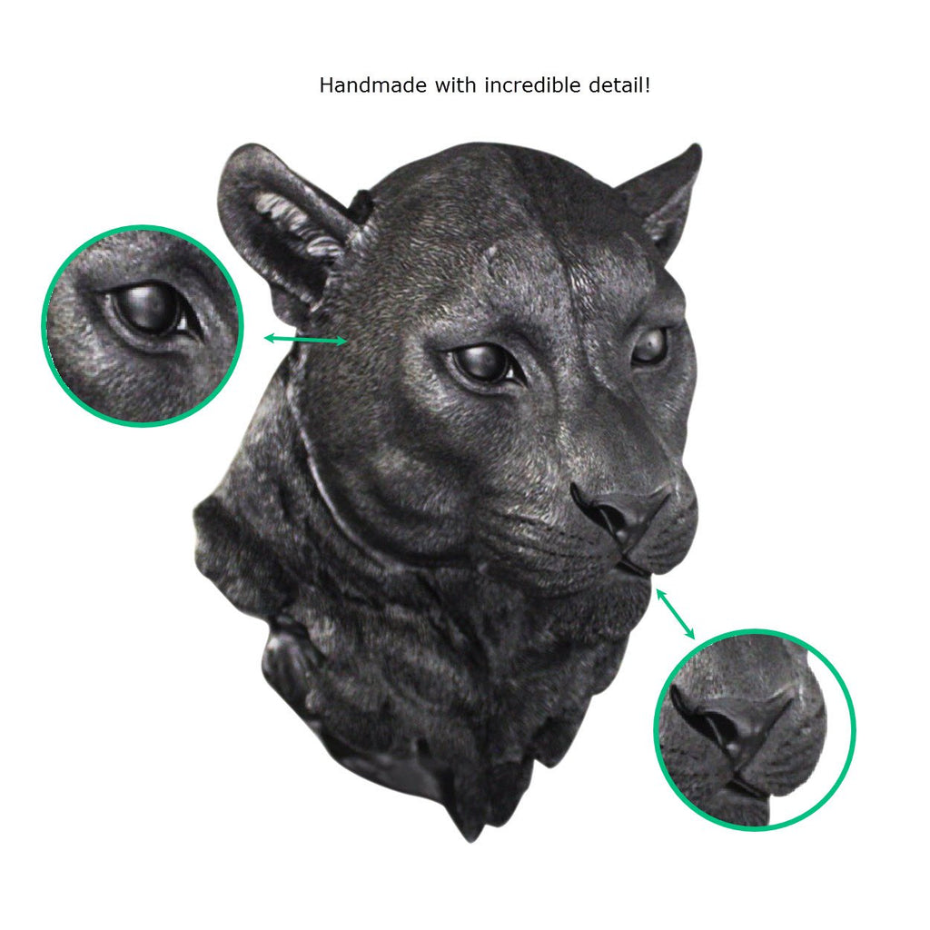The Yosemite | Cougar Mountain Lion Head | Faux Taxidermy | Black Resin