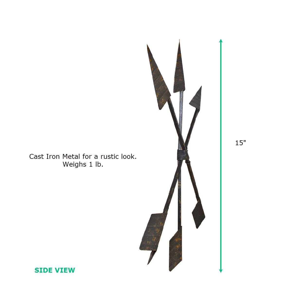 15 inch Bronze 3-Set Arrows side and size view