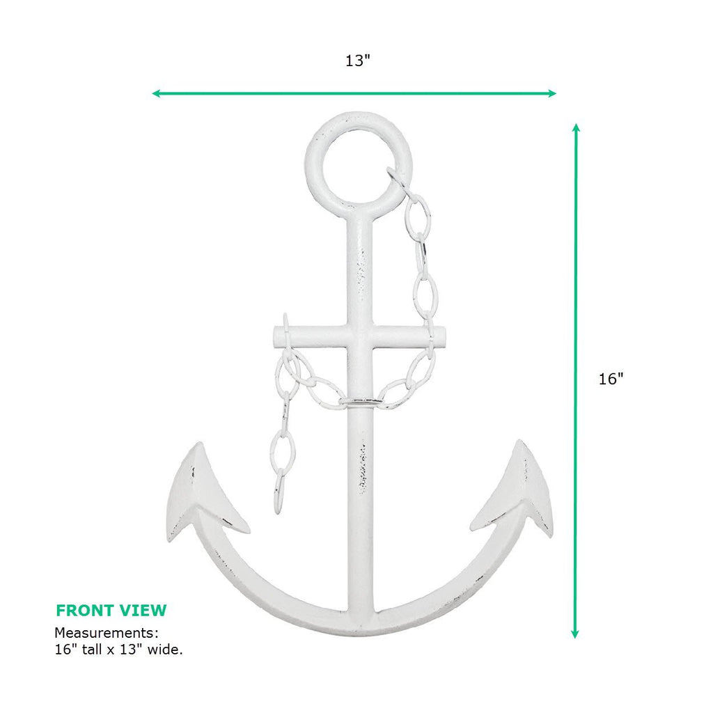 Cast Iron Anchor | White Anchor Decor | White Metal
