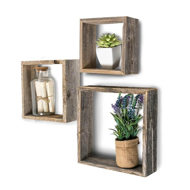 Set of 3 Square Wood Floating Wall Shelves