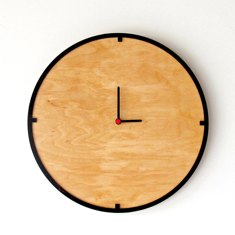 Modern Wooden Wall Clock, 15""