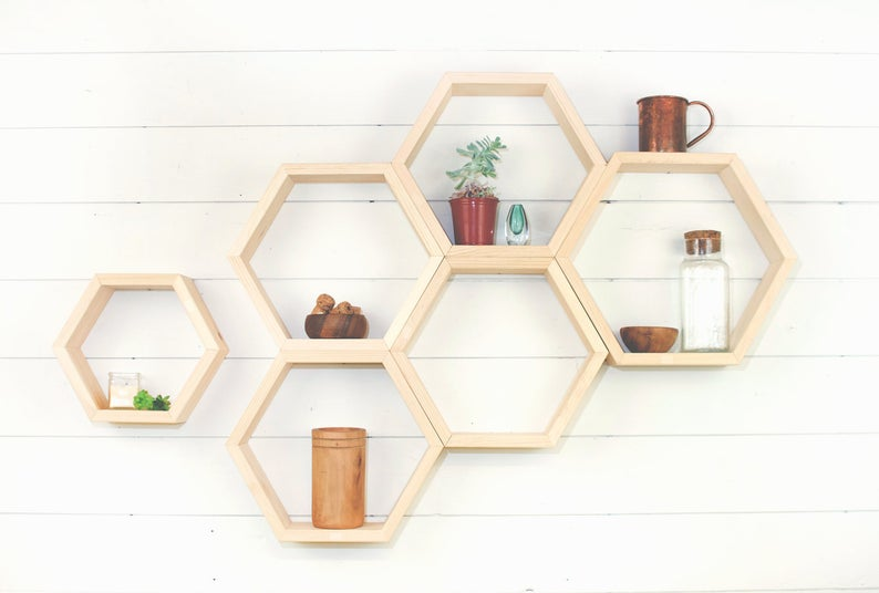 Wooden Hexagon Floating Wall Shelf, 3 Sizes