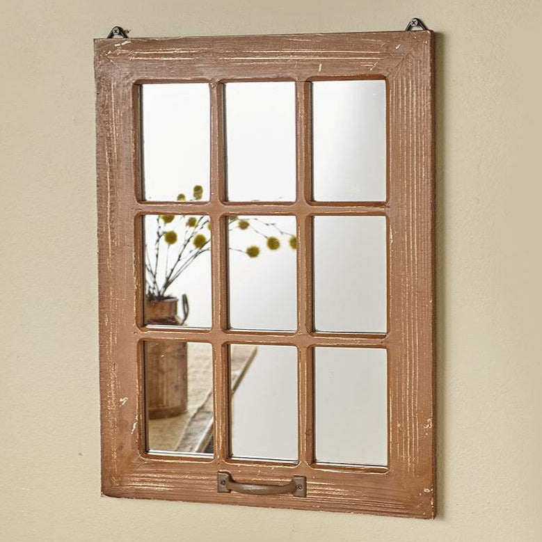 Distressed Wood Windowpane Hanging Wall Mirror, 20""