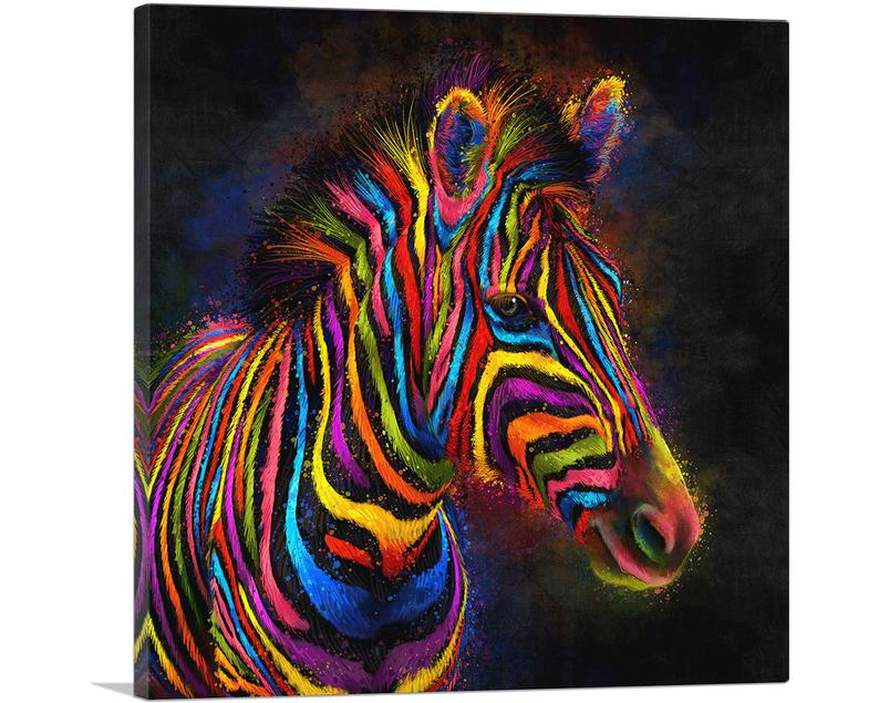 Modern Colorful African Zebra Canvas