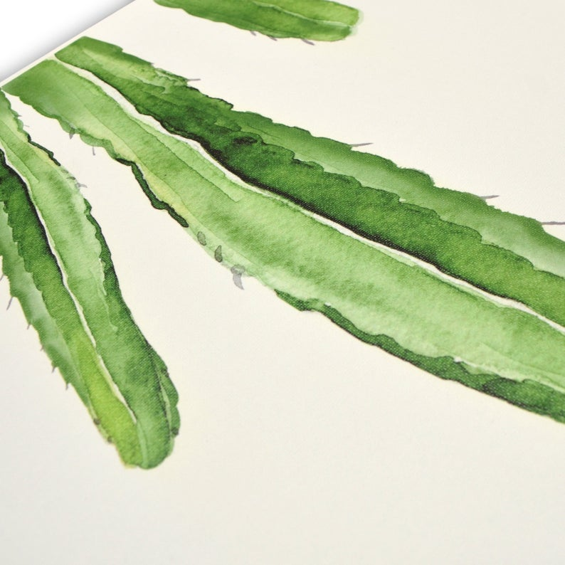 Green Cactus Watercolor Canvas Wall Art, Set of 3