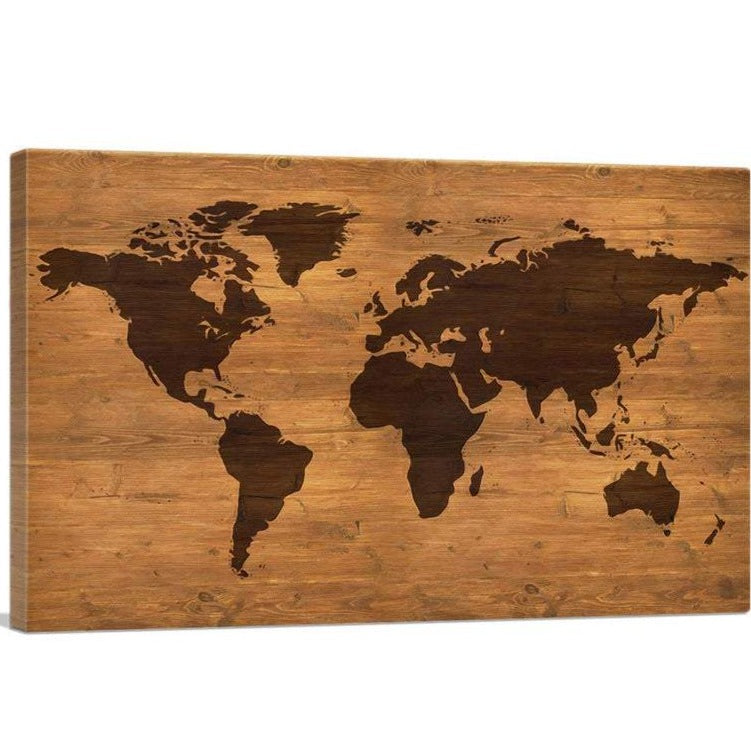 Rustic World Map Canvas