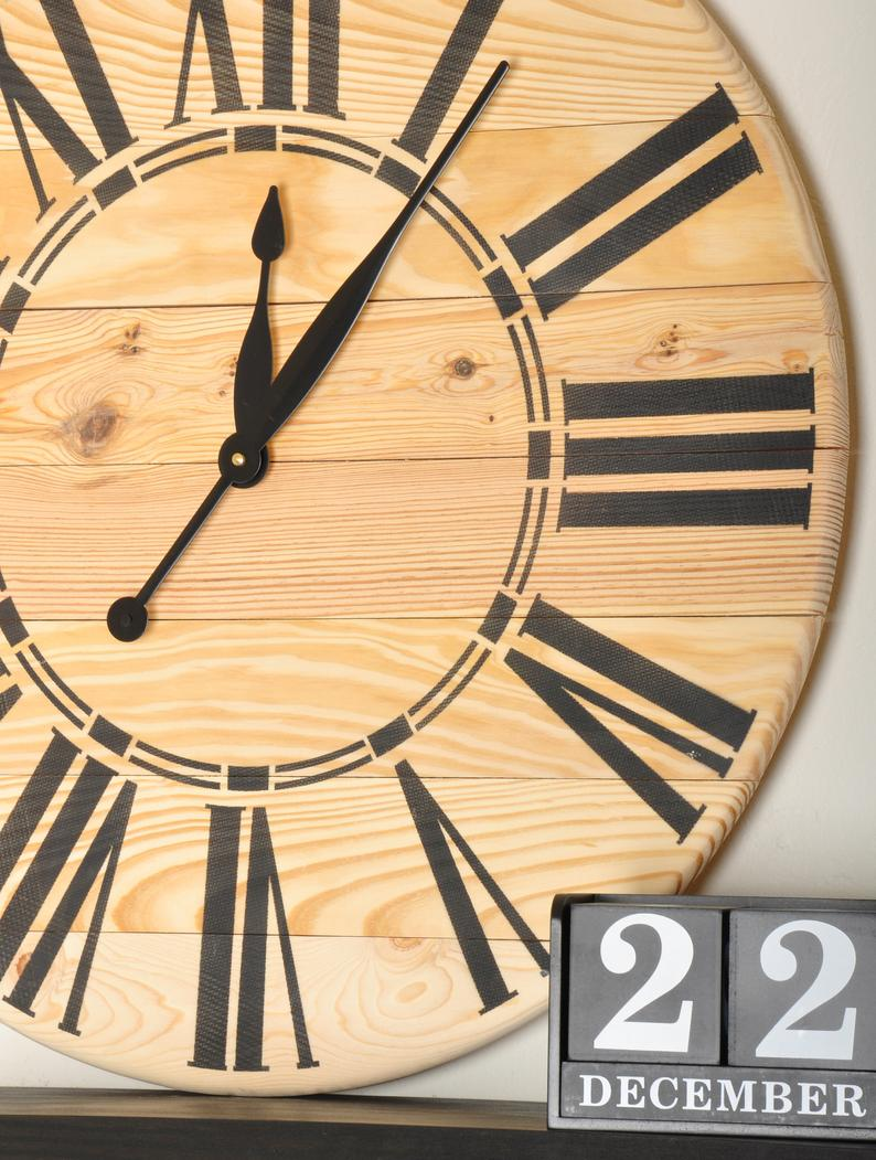 "Oversized Brown Farmhouse Wall Clock, 24"" - 36"""